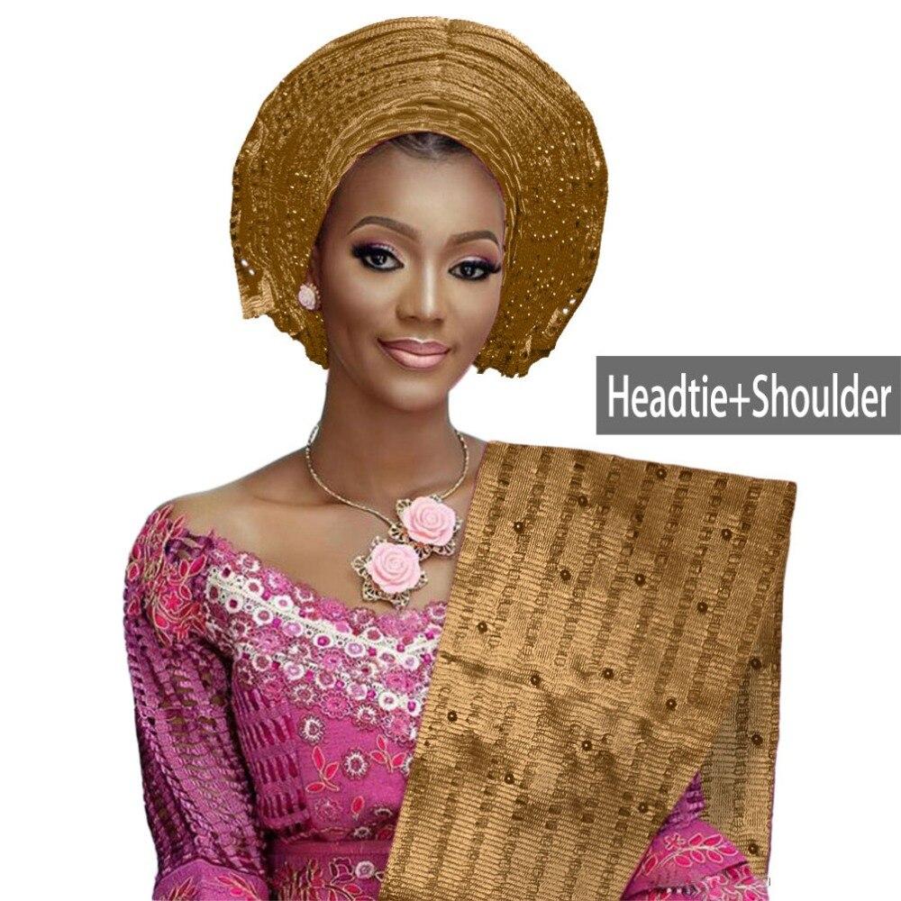 African aso oke gele headtie beaded headwrap Nigerian&African Wedding Party auto gele (8)