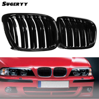 SUGERYY 2PCS New Gloss Black Front Double Line Grilles Grill For BMW 5 Series E39 95 04 SR1G Accessories Parts