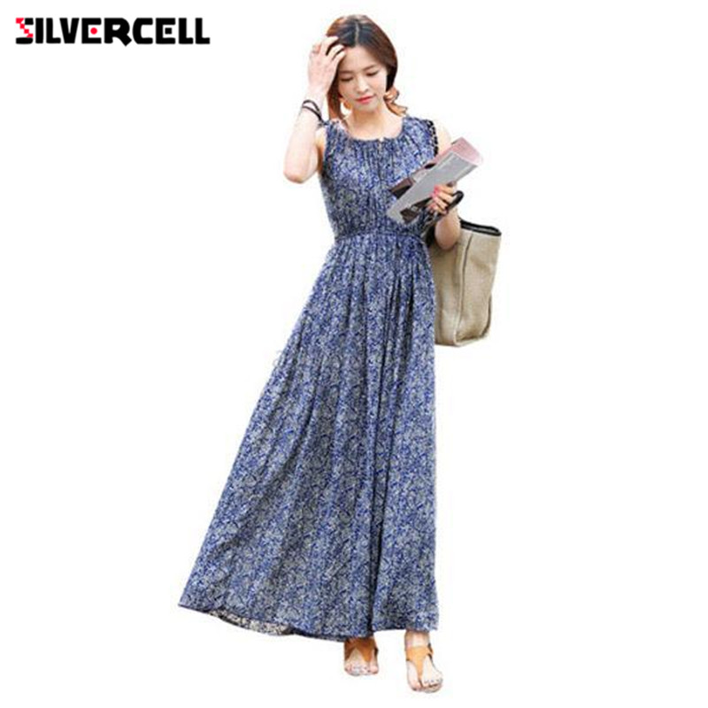 SILVERCELL Autumn Summer Blue Dress Boho for Women Plus Size Vintage Floral Dress Long Maxi Beach Sundress Vestidos