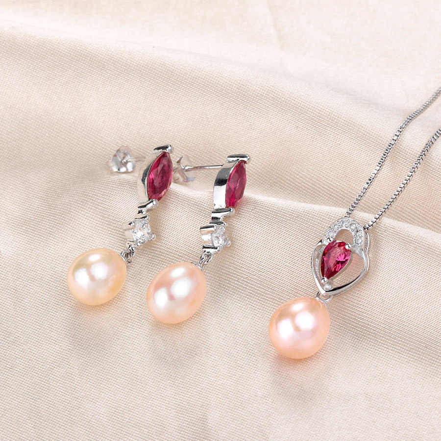 LINDO Women Wedding 925 Sterling Silver Necklaces/ Pendants Pearl Earrings Jewelry Sets Party Holiday Accessories Bridal Jewelry
