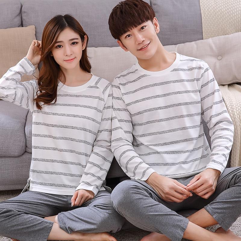BZEL Casual Couple Pajama Sets Men Cotton Striped Pijamas Men Long Sleeve Pijama O-neck New Sleepwear Pyjama Unisex Look Pajamas