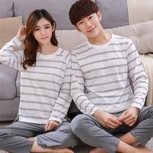 Bzel casual casal conjuntos de pijama de algodão listrado pijamas de manga longa dos homens o pescoço novo pijamas de pijamas unisex olhar pijamas