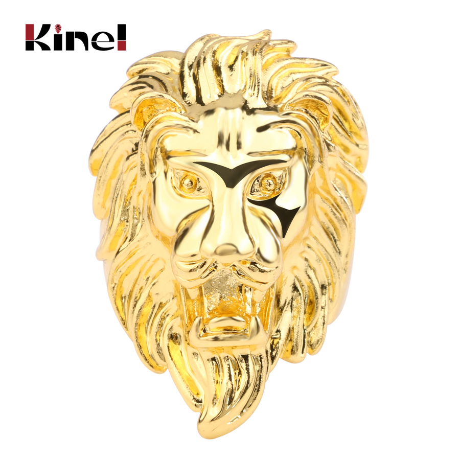 Kinel Hot 2017 Fashion Punk Lion Ring Gold Color Vintage Look Men's Jewelry Lucky Animal Rings Jewelry Wholesale