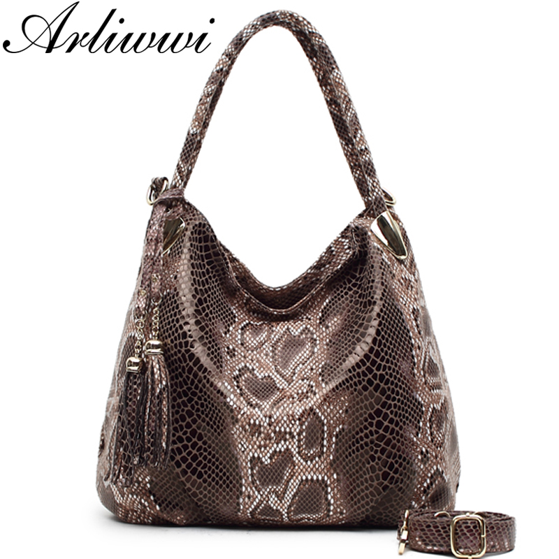 BIG SALE* High Quality Serpentine Pattern Women Luxury Shoulder Bags With Tassel Pendant PU Leather Messenger Handbags P05921