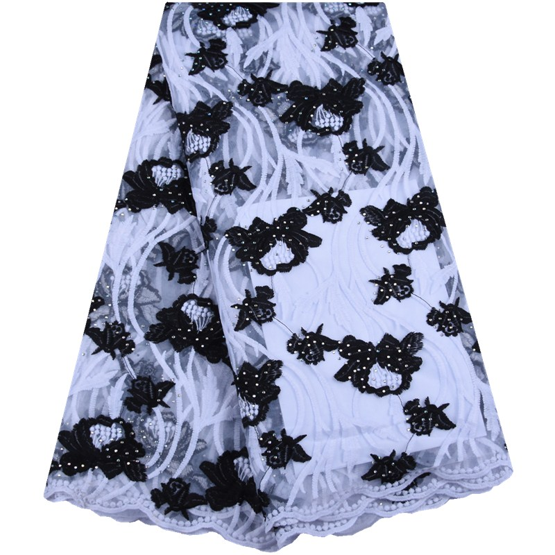 2019 French Milk Lace Fabric High Quality Nigeria Lace Fabric Embroidered African Milk Tulle Lace For