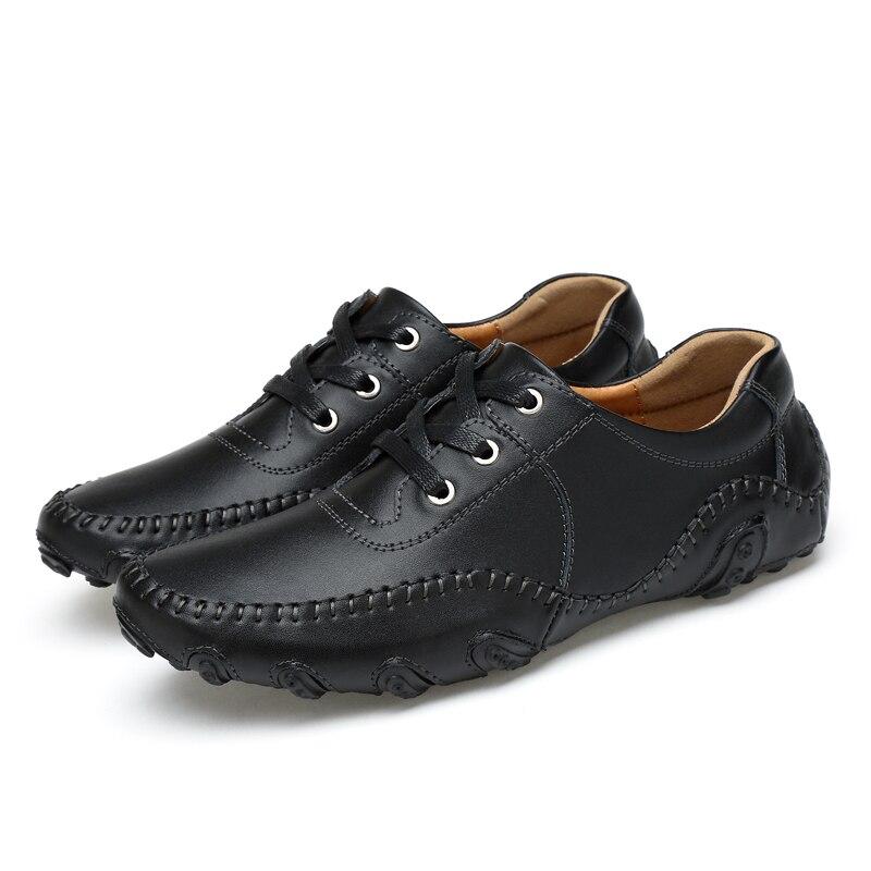Noir Occasionnels blanc bleu Véritable Automne Appartements Hommes 2017 Chaussures De Pour En Confortables Cuir Robe Mode Mocassins 4R60xqT