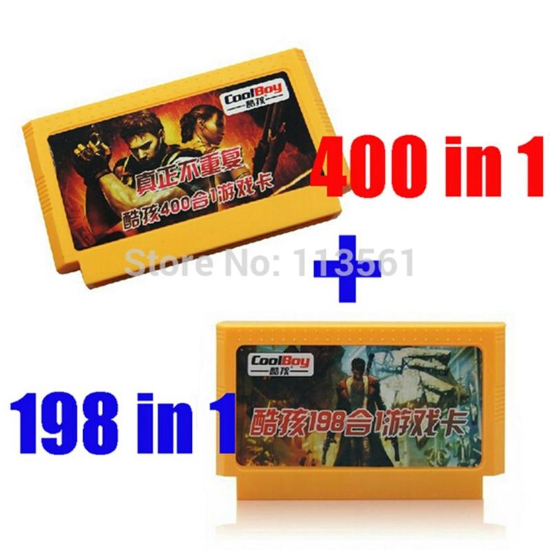 2 unids/lote (198 en 1 cartucho de juego + 400 en 1 tarjeta de juego) Real No repetir tarjeta de juego de 8 bits
