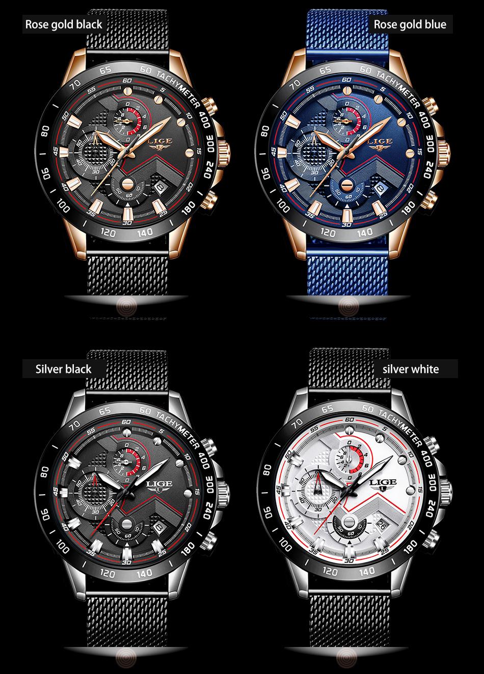 LIGE azul Casual malla Correa moda cuarzo oro reloj para hombre relojes marca superior reloj impermeable de lujo 10