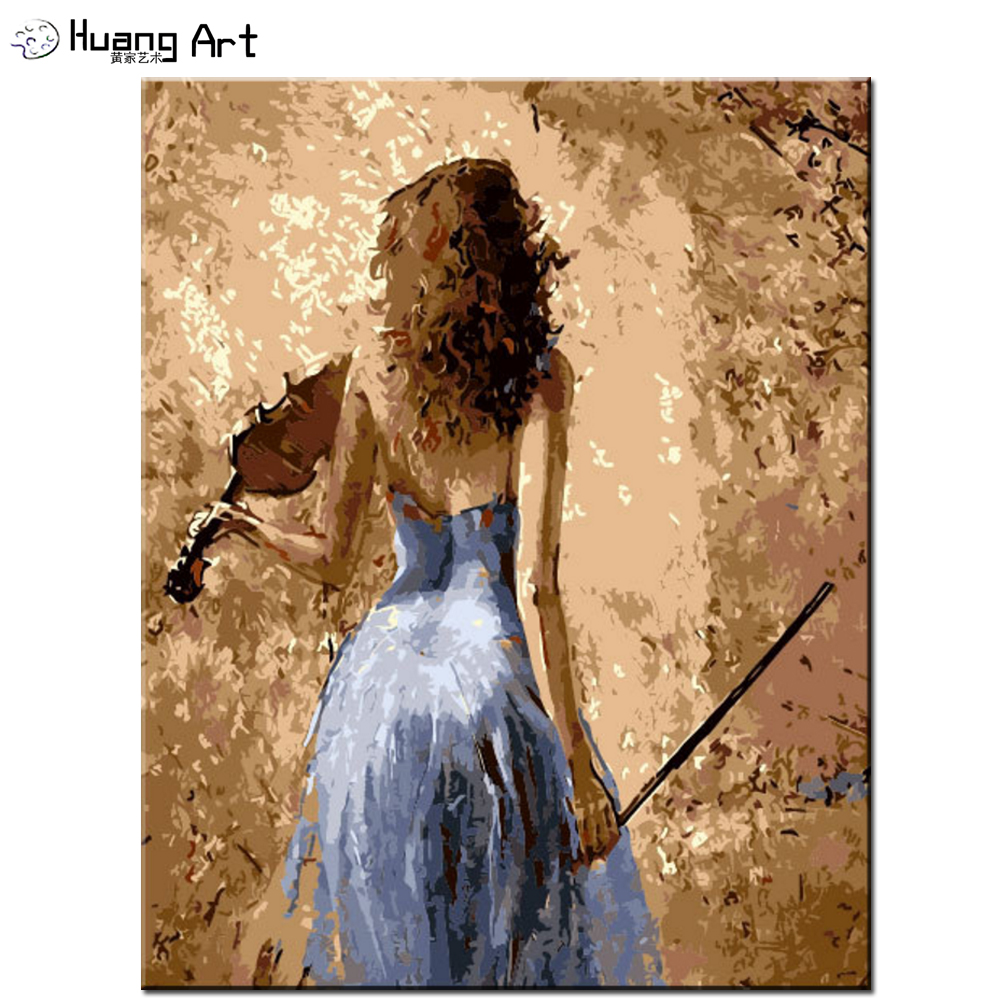 Handmade Blue Skirt Girl Playing the Violin Painting by Number for ...