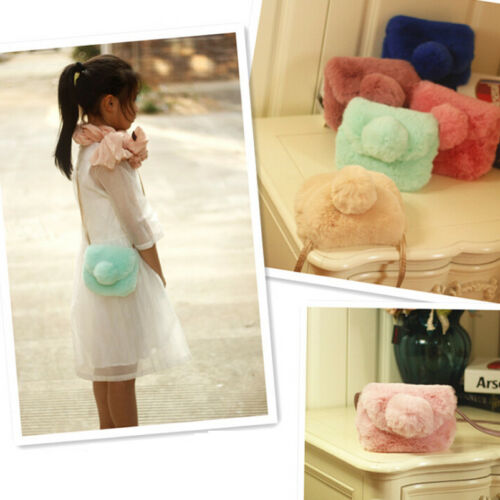 2019 Fashion Cute Lovely Faux Fur Baby Girls Kids Mini Crossbody Bag Purse Bowknot Plush Backpacks Soft Coin Purse