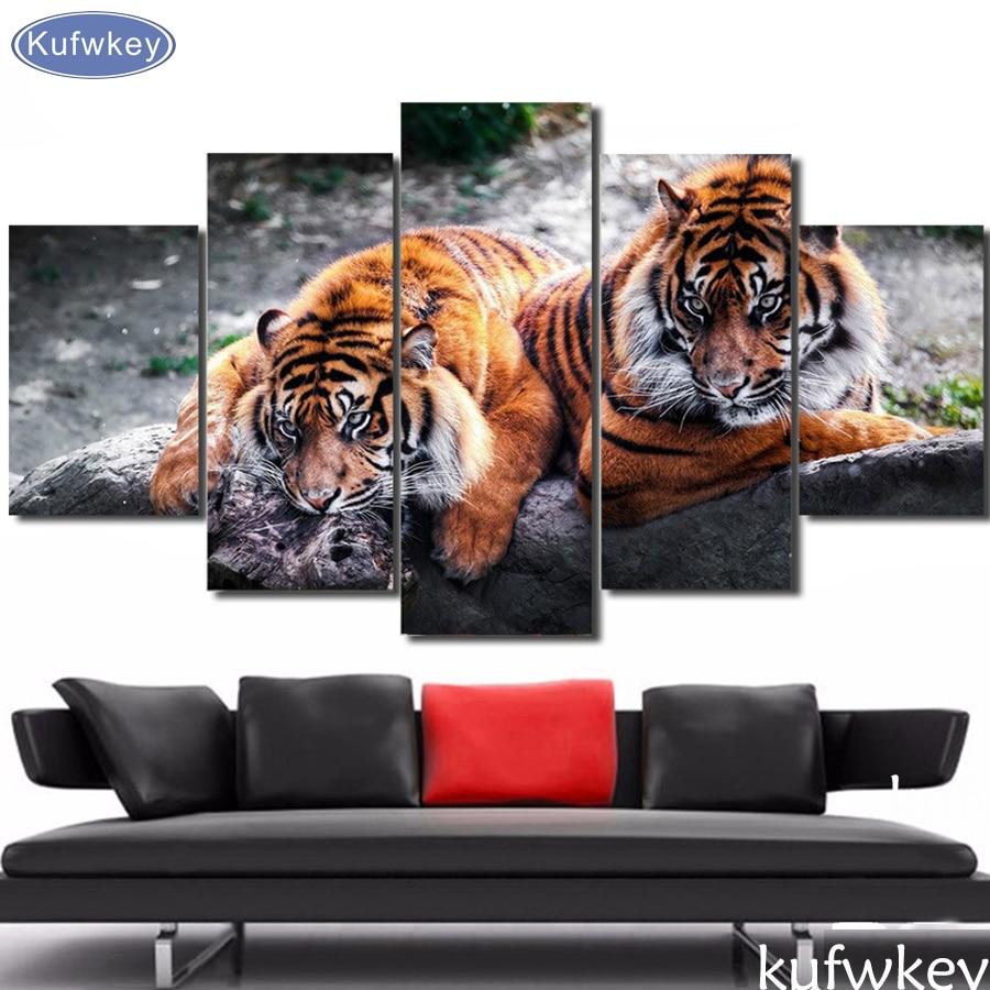 5 piece Bengal Tiger African Animal DIY Diamond Embroidery Diamond Painting Diamond mosaic cross stitch pictures