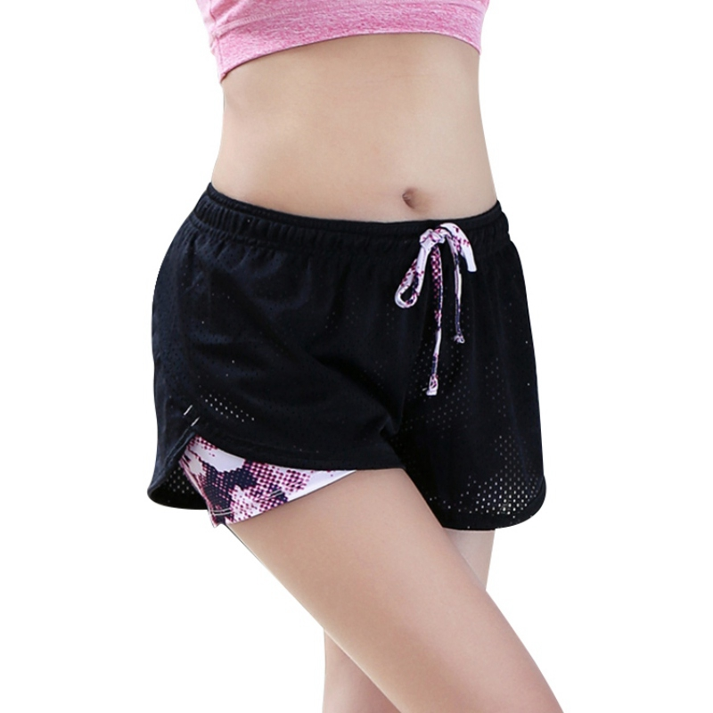 2 In 1 Women Summer Yoga Shorts Mesh Breathable Ladie Girl Short Pants Running Athletic Two Layer Sport Fitness Short Pants