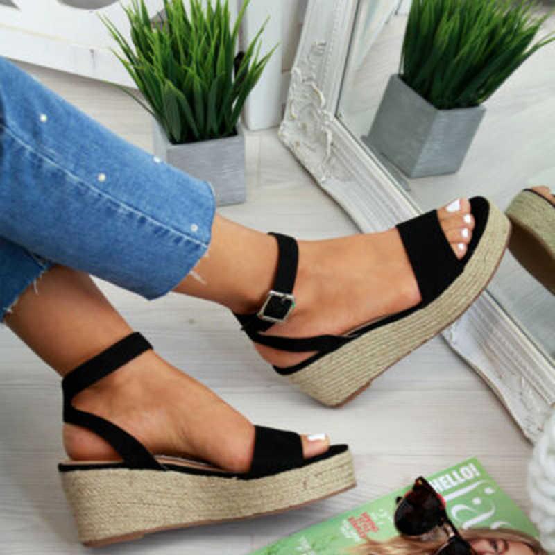 SHUJIN Dây Loa Sommer Nền Tảng Giày Sandal 2019 Thời Trang Nữ Sandal Giày Đế Xuồng Cổ Peep Toe Đen Nền Tảng Giày Sandal Đế Giày Bên Ngoài