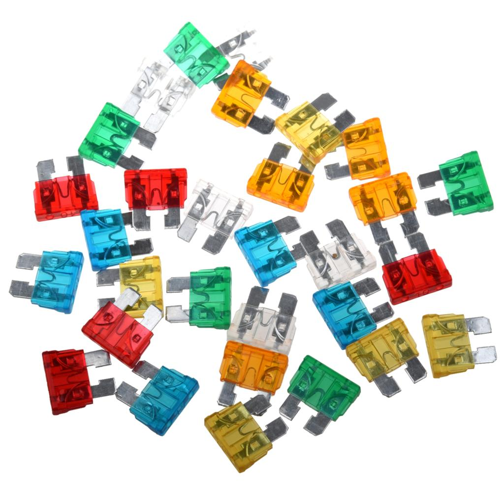 TOYL Hot Sale! 30Pcs Standard Auto Blade Fuse for Car 5 10 15 20 25 30 AMP Mixed ...