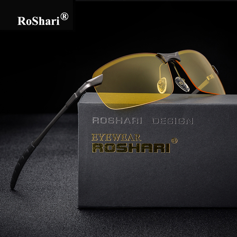 RoShari Men Glasses Car Drivers Night Vision Goggles Anti-Glare Sun glasses men Polarized Driving Sunglasses retro gafas de sol