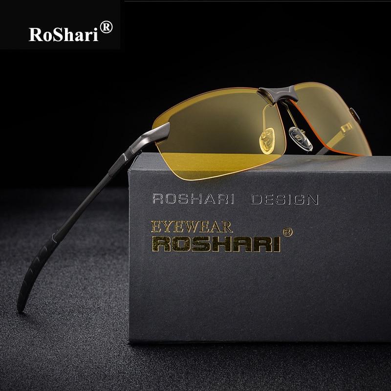 RoShari Men Glasses Car Drivers Night Vision Goggles Anti-Glare Sun glasses men Polarized Driving Sunglasses retro gafas de sol