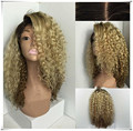 Fashion Ombre Natural Black/Golden Synthetic Lace Front Wig Heat Resistant Hair Afro natural Kinky Curly Women Wigs for women