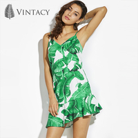Vintacy Beach Dress Green Print Plant V Neck Sleeveless Spaghetti Strap Slim Sexy Short Mermaid Dress