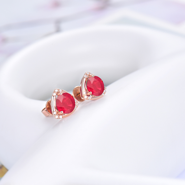 Loving Natural Ruby Wedding Earring Design Real 18Kt Rose Gold Promised Diamond Fine Jewelry for Wife Anniversary Gift