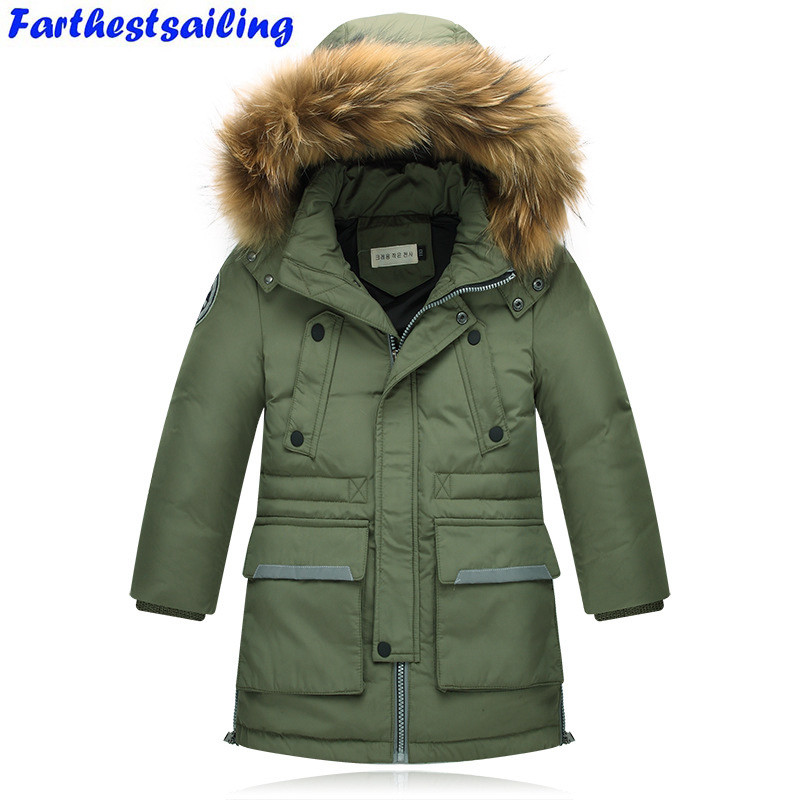 Winter Jacket Kids Boys Thick Duck Down Parkas Children Casual Fur Hooded Jackets / Coats -30 degrees Boy Coat&outwear Clothing girl duck down jacket winter children coat hooded parkas thick warm windproof clothes kids clothing long model outerwear