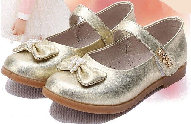 Большие девушки боути перл детей формальные обувь школы обувь свадьба производительность черное золото действие кожа дети orthopetic