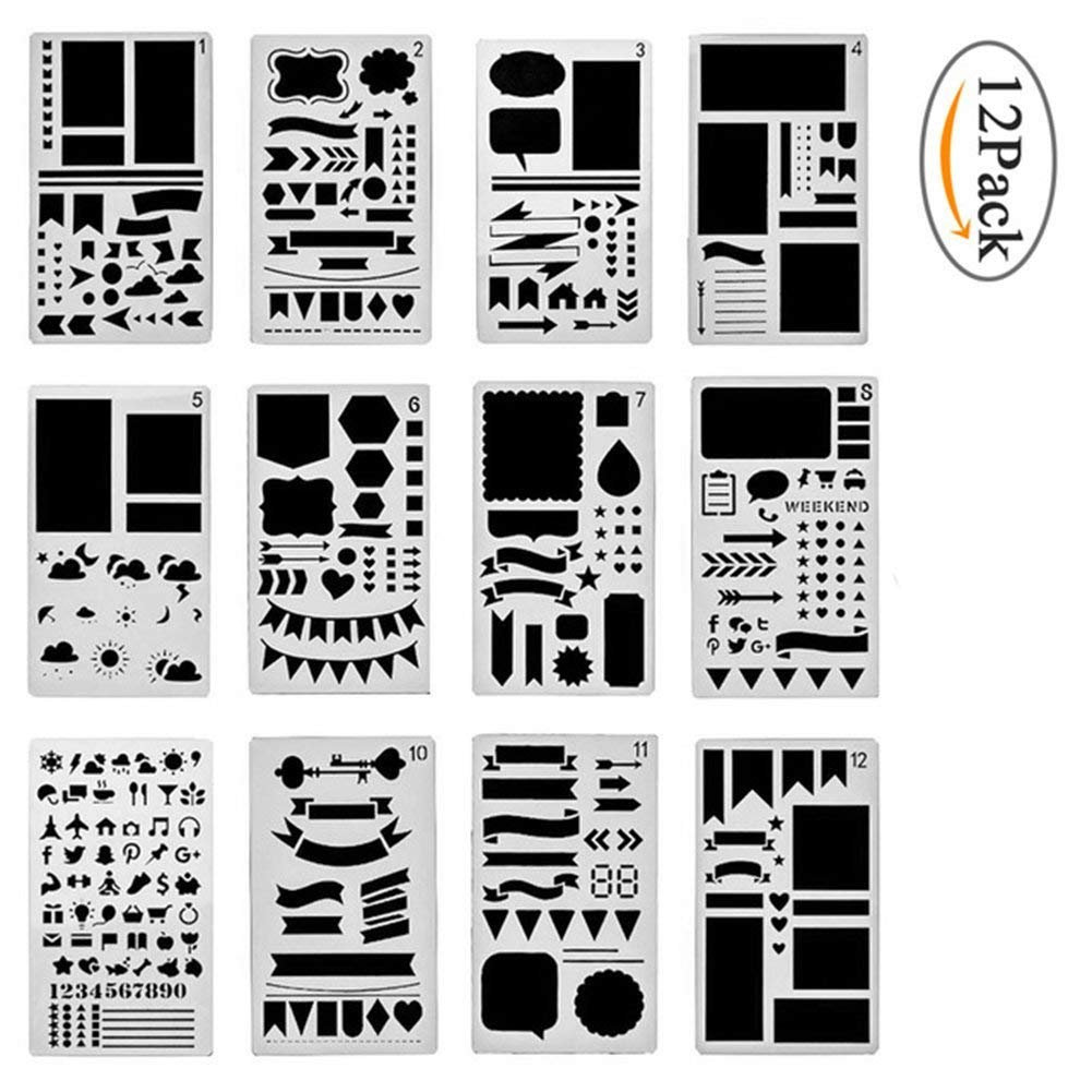 Bullet Journal Stencil Diy Diary Drawing Template 12 Pieces, 7inch X 4inch