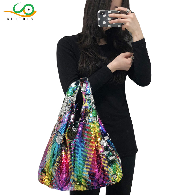 MLITDIS Bling Bag Female Handbag Hologram Laser Bags for Women Handbags Girls Reversible Sequin Rainbow Color Mermaid