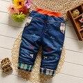 Nuevo 2016 Casual Algodón Tela de Mezclilla Bebé de La Manera Caliente Lindo Bebé de Dibujos Animados Niñas Pantalones Del Todo-Fósforo Pantalones de Los Niños de 7-24 Meses