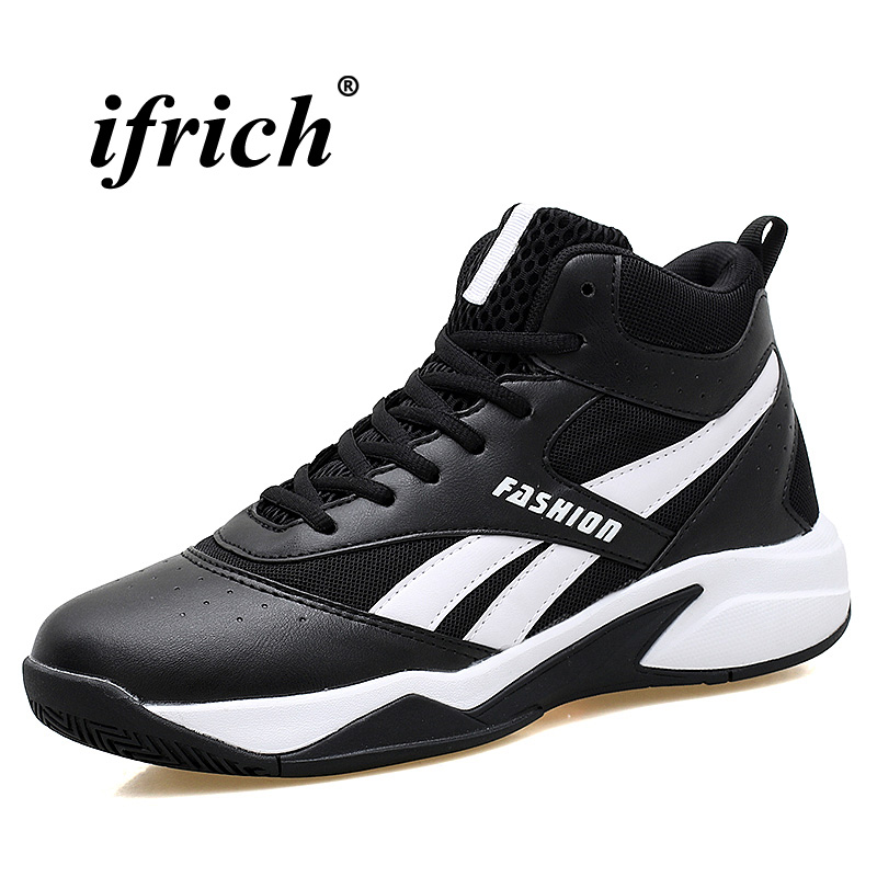 Training Shoes Basketball Men Black White Basketball Sneakers Boy Four Seasons Outdoor Shoes Breathable Male High Top Basketball