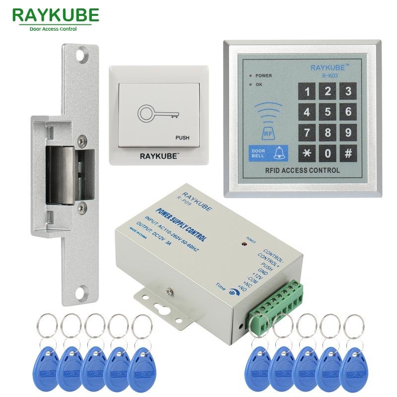 RAYKUBE Special Offer Access Control Kit Electric Strike Lock Password Keypad RFID Reader Counter Strike