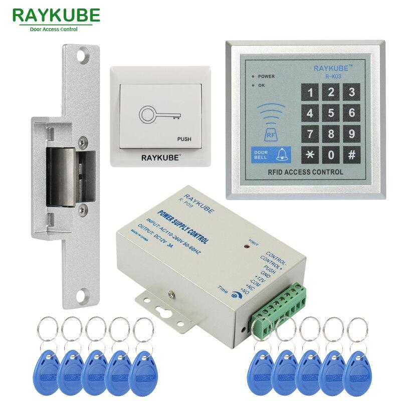 RAYKUBE oferta especial Kit de Control de acceso Bloqueo de golpe eléctrico + contraseña teclado RFID lector contador Strike
