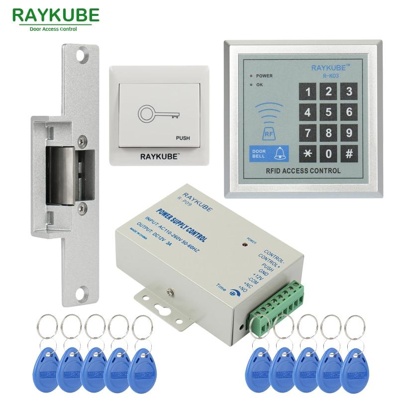 RAYKUBE Sonderangebot Access Control Kit Türöffner Sperre + Passwort Keypad RFID Reader Counter Strike