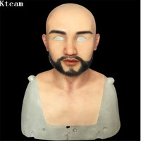 Top Quality 100% Silicon Handmade Silicone Handsome Man Face Mask Crossdress Mask Female&Male Crossdresser Man Skin Mask Cos toy