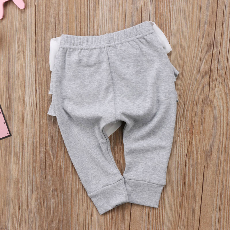 Infant Baby Girl Layered Ruffle Pants Toddler Kid Long Pants Bowknot Casual Bottoms Clothing 14