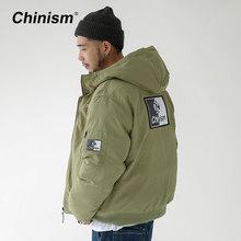 CHINISM Stylish Logo Printed Hooded Jacket Thick Mens Military Green Retro Men's Parkas Winter Streetwear Men Jackets