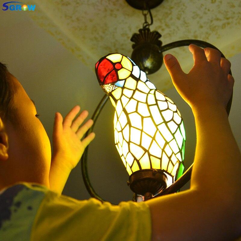 SGROW витражи Тиффани Стекло попугай абажур Книги по искусству подвесной светильник Освещение в помещении приспособления для Гостиная сад пр