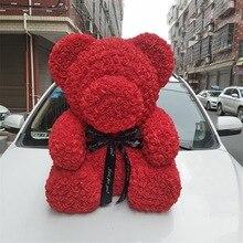 40 см высокий медведь из роз, подарок на день Святого Валентина сохраненный свежий цветок Романтика искусственная розовая игрушка цветок женский подарок цветок медведь