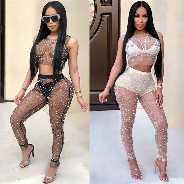 820511002d1 Women Ladies Long Sleeve See Through Mesh Fishnet Crop Top T-Shirt + Panties  Set Mesh Pearl Beaded Perspective Fun Suit