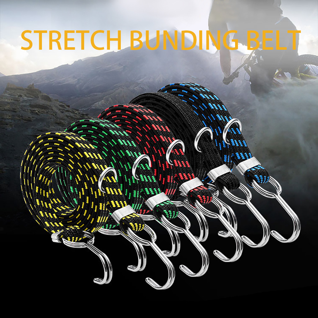 Bicycle Bike Cycling Luggage Tied Rope Stacking Banding Elastic Cord Strap For Motorcycle  Fixed Band Hook Bicycle Accessories
