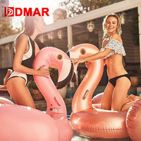 DMAR 150CM 59 Giant Inflatable Flamingo Pool Float Toys Swimming Ring Circle Beach Sea Inflatable Mattress Party Best Gift