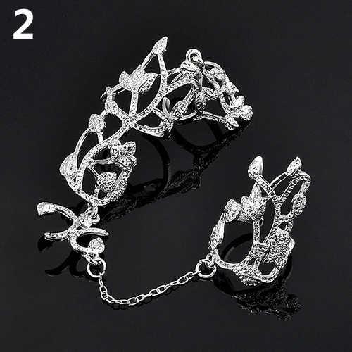 Moda Feminina Flor Slave Chain Link Dedo Anel Jóias Presente da Festa de Casamento Da Noiva