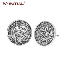Kinitial Fashion Earrings Dragon Ear Stud Earrings Animal Dragon Knot Viking Runes Earrings for Women Girls Boys Party Gift(China)