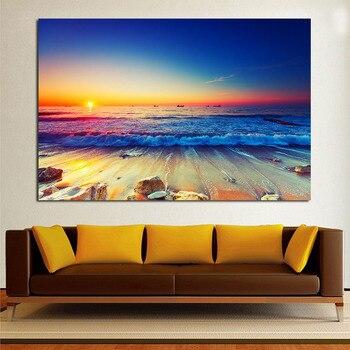 JQHYART ภาพวาดสีน้ำมันชายหาดคลื่น Sands ฤดูร้อนที่สวยงามภาพผนังสำหรับห้องนั่งเล่นตกแต่งบ้านไม่ม...