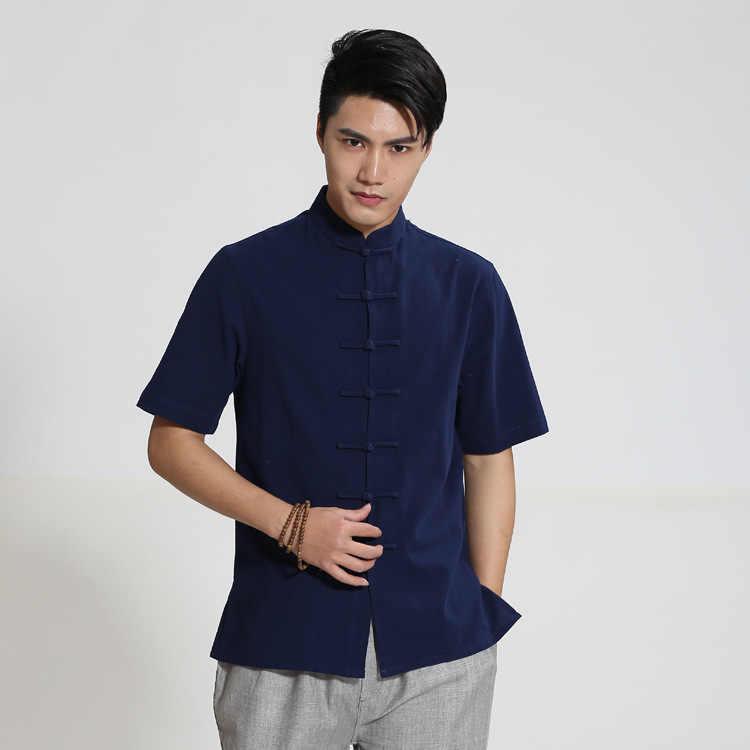 新着ブラック中国男性カンフーシャツ綿リネンウー Shu シャツ夏唐装トップスサイズ ML XL XXL XXXL