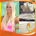 "16""- 30"" 100g 120g Clips In Human Hair Extensions Full Head Set #60 Platinum Blond Hair Lightest Blond"
