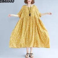 DIMANAF Women Dress Summer Plus Size Femme Elegant Lady Pleated Vestidos Large Clothing Loose Print Linen Yellow Dress 100KG Fit