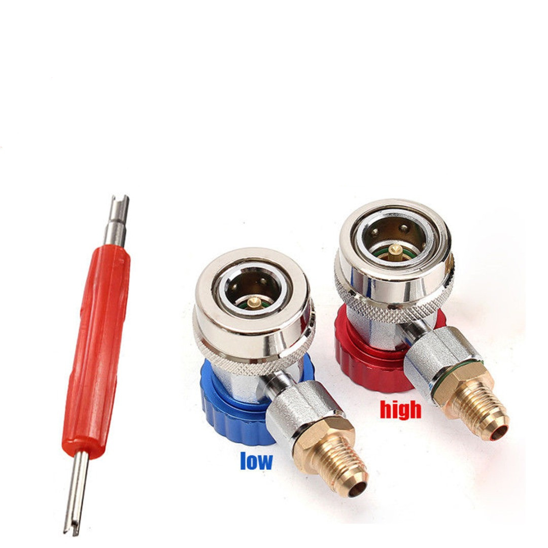 1pair New A/C R134A Quick Coupler Adapter Brass Auto High Low Manifold Gauge Gas Connector Red/Blue + Remover Tool 2pcs auto car ac r134a h l quick coupler connector brass adapters 1 4sae air conditioning refrigerant manifold gauge page 4
