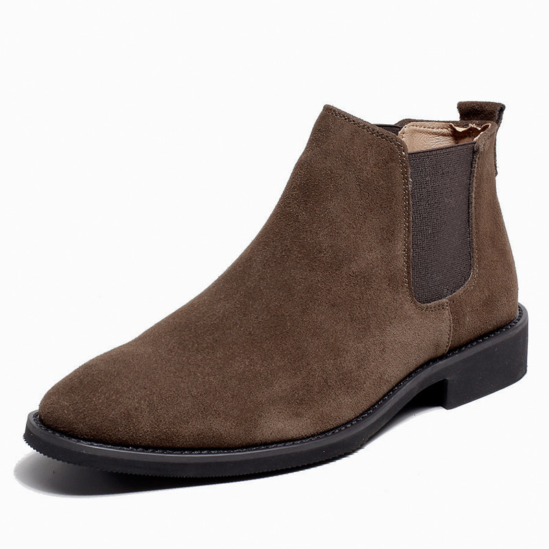 2019 Winter Autumn Cow Suede Men Chelsea Boots Casual Botas Elastic Band Rubber Ankle Boots Burgundy Brown Black Beige Green