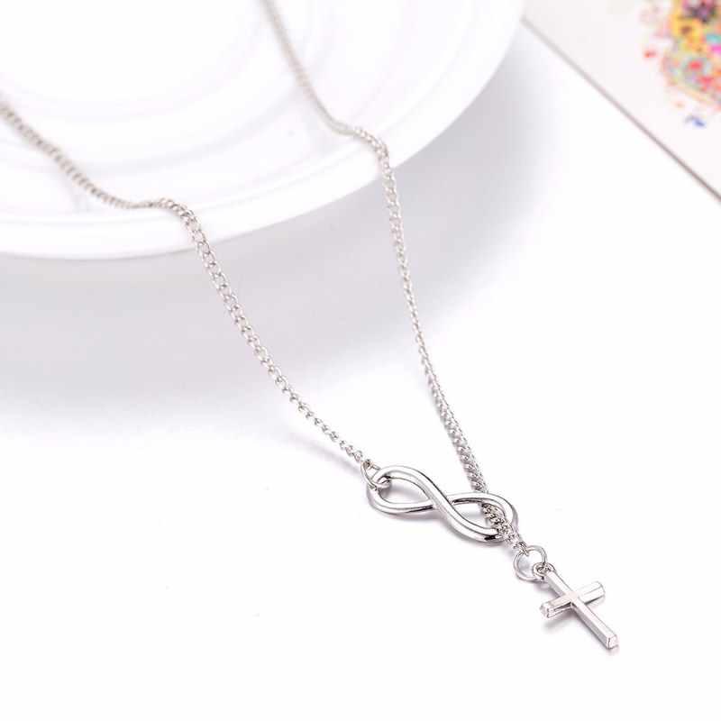 Unique Fashion Jewelry Infinity 8 Bit Minimalist Luck Cross Pendant Necklace Best Friend Chain Necklaces for Women Wholesale