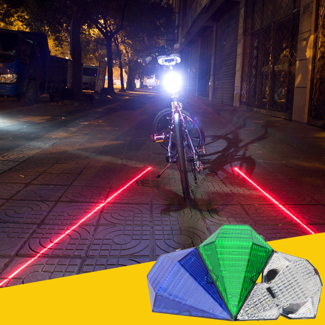 5 LED 2 Laser Bike Taillights Mountain Bike Taillight Waterproof Security Warning Light Riding Equipment Accessories